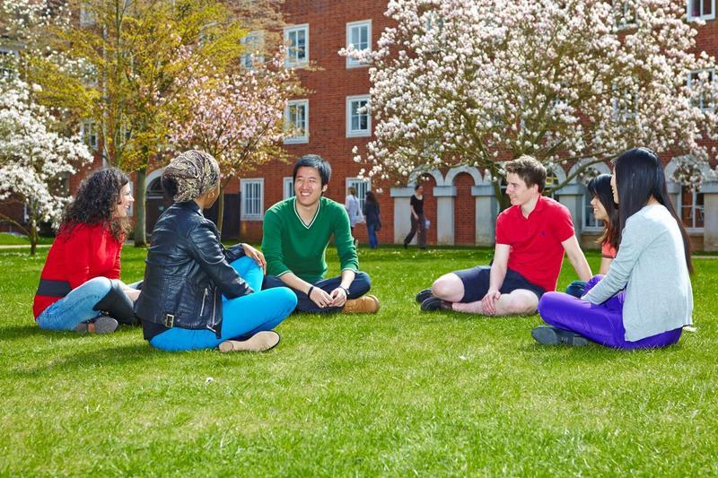 Students chatting in garden
