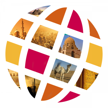 Language Center logo with Middle East scenes