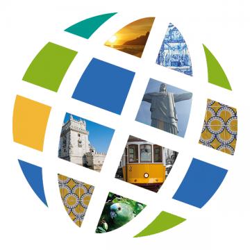 Language Center logo with Portuguese and Brazilian scenes