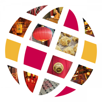 Language Center logo with Chinese scenes