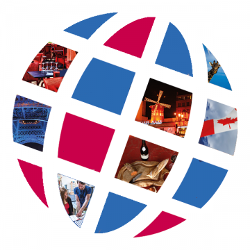 Language Center logo with French scenes