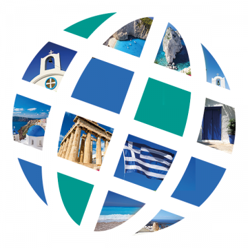 Language Center logo with Greek scenes