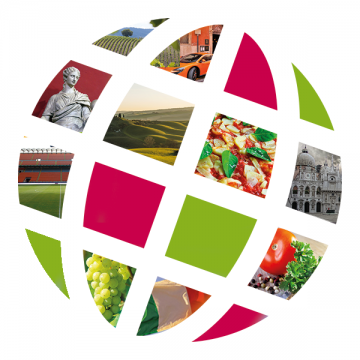 Language Center logo with Italian scenes