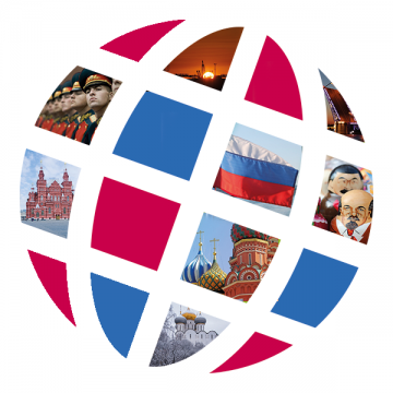 Language Center logo with Russian scenes